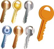Set of keys from various metals. Seven simple realistic keys with teeth from different metals and alloys stock illustration