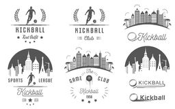 Set of Kickball Logo, Badges and Emblems Royalty Free Stock Photos