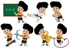 Set of kid activity, kid learning math in class,playing. Taekwondo ,playing badminton,playing skateboard,playing saxophone,playing bow,jumping with rope.vector royalty free illustration