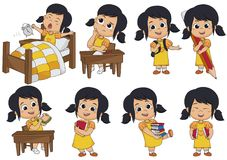 Set of kid activity,kid think,wake up,holding a big pencil,eat s. Andwich,holding a book. Vector and illustration royalty free illustration