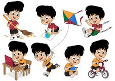 Set of kid activity,kid sweeping a leaf,painting a picture,playing on. Swing,playing a computer,riding a bicycle,playing a kite.vector and illustration stock illustration