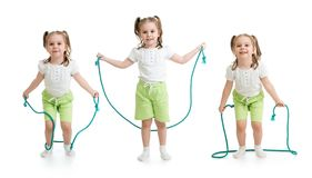 Set of kid girl jumping with rope isolated Stock Photos