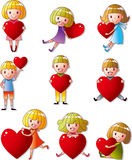 Set of kid hug heart Stock Photo