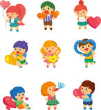 Set of kid hug heart Royalty Free Stock Image