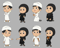 Set of kid muslim people doing activities.vector and illustratio Royalty Free Stock Image