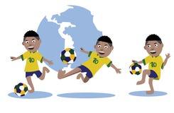 Set of kid play soccer ball. Brazil uniform. world globe background .  illustration Royalty Free Stock Photos