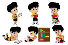 Set of kid reading a book. stock illustration