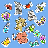 Set of Kid's Stuff Stickers Royalty Free Stock Photography