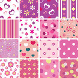 Set of kid seamless patterns Royalty Free Stock Photos