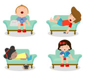 Set of kid sleeping on sofa at home on white background, children resting at home, Couch and child , Simple cartoon of kids taking. Nap on sofa, people sleep on Stock Photography