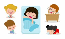 Set of kid sleeping  on white background, children resting at home, Couch and child Vector illustration. Set of kid sleeping  on white background, children Stock Photo