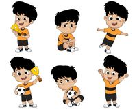 Set of kid, winning the championship and defeat in the competition. Vector and illustration vector illustration