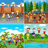 A Set of Kids and Activity. Illustration royalty free illustration