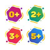 Set of kids age restrictions. Cartoon color vector illustration royalty free illustration