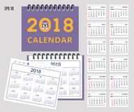 Kids calendar for wall or desk year 2018, 2019 Royalty Free Stock Images