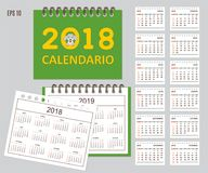 Spanish Kids calendar for wall or desk year 2018, 2019 Stock Photos
