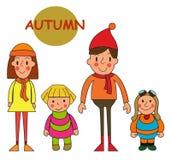 Set kids autumn  season. Cute little girls and boys isolated on. White background. Vector illustration  eps 10 Stock Image