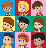 Set of kids avatars,cute cartoon boys and girls faces with vario Royalty Free Stock Image