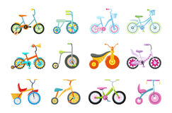 Set of Kids Bicycles and Tricycles stock illustration