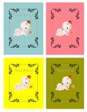 Set of kids birthday cards. Set of four kids birthday cards royalty free illustration