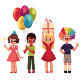 Set of kids at birthday party, holding gift and balloons. Cartoon vector illustration  on white background. Full length portrait of diverse children, kids Stock Photos