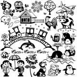 Set for kids black white vector illustration