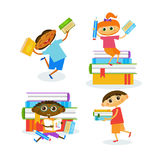 Set Of Kids With Books Reading Cute Children Happy Smiling. Flat Vector Illustration Royalty Free Stock Image