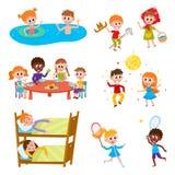Cartoon set of kids on vacation in summer camp. Set of kids, boys and girls on vacation in summer camp - eating, sleeping, playing, swimming, dancing, sleeping Royalty Free Stock Photo