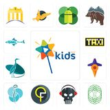 Set of kids channel, celtic tree life, skull with headphone, qf, neurosurgery, travel, heron, taksi, fishing team icons. Set Of 13 simple  icons such as kids Stock Image
