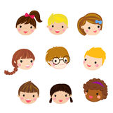 Set of kids Character head Stock Image
