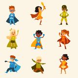 Set of kids characters in colorful superhero costumes cartoon style. Vector illustration isolated on light background. Children boys and girls in capes and royalty free illustration