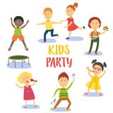 Set of kids, children having fun at birthday party Royalty Free Stock Image