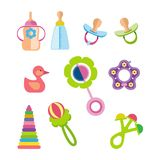 Set of kids, children toys and accessories concept. Stock Photos