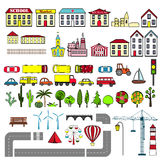 Set of kids city map elements. Vector illustration Royalty Free Stock Image