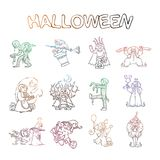 Set of kids in costumes for Halloween. And witches and ghouls. Lich or russian King Koschey, Mummy, Clown stock illustration
