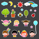 Set of kids and cute nature element royalty free illustration