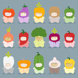 Set of kids in cute vegetable costumes royalty free illustration