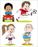 Set of kids different drawing character stock illustration