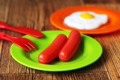 Set of kids dishes. Children`s toys. Children`s kitchen game. Royalty Free Stock Images