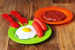 Set of kids dishes. Children`s toys. Children`s kitchen game. Stock Images