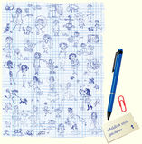 Set of Kids drawing - childish style picture. Royalty Free Stock Photography