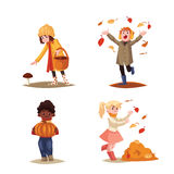 Set of kids enjoying outdoor fall autumn activities Royalty Free Illustration
