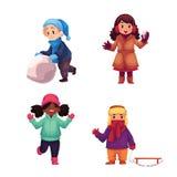Set of kids enjoying winter season, vector illustration Stock Photos