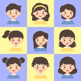 Set of Kids Face Avatar Blue Yellow Vector Stock Image