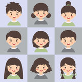 Set of Kids Face Avatar Grey Green Vector Stock Images
