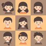 Set of Kids Face Avatar Orange Brown Vector Royalty Free Stock Image