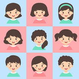 Set of Kids Face Avatar Pink Turquoise Vector Royalty Free Stock Photos