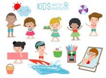 Set of Kids having fun on the beach, children play on the beach,Child dancing on the beach, vector illustration.  stock illustration
