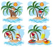 A Set of Kids and Island. Illustration Stock Images
