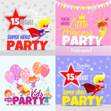 Set with kids party invitation design concepts. Super hero party for boys, little princess party for girls and big kids party with happy cartoon kids royalty free illustration